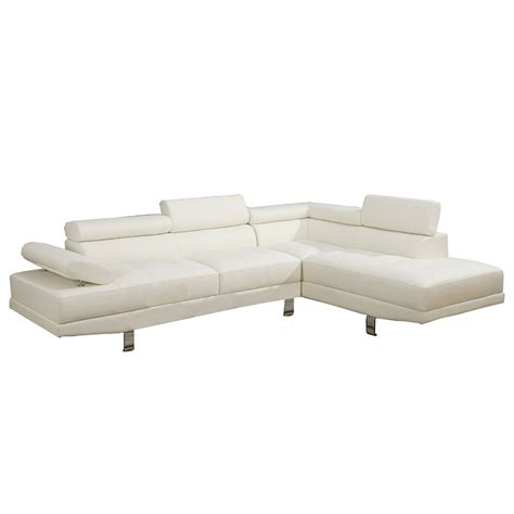 Modern 2 Pieces White Faux Leather Sectional Sofa