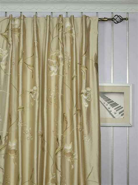 custom curtain panels franklin deep chagne embroidered floral faux silk