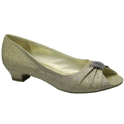 sparkly shoes womens low heel sparkly glitter diamante peep toe