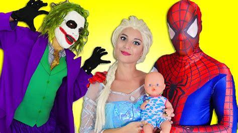 film elsa dan jack bahasa indonesia superhero compilation frozen elsa spiderman vs harley