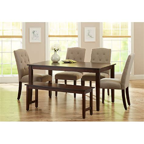 Dining Room Set For 6 by Better Homes And Gardens 6 Dining Set With Upholstered Chairs Bench Mocha Beige