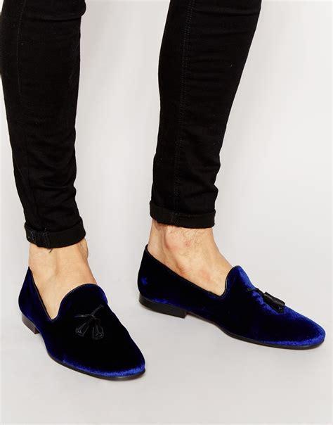 mens velvet tassel loafers lyst asos tassel loafers in blue velvet in blue for