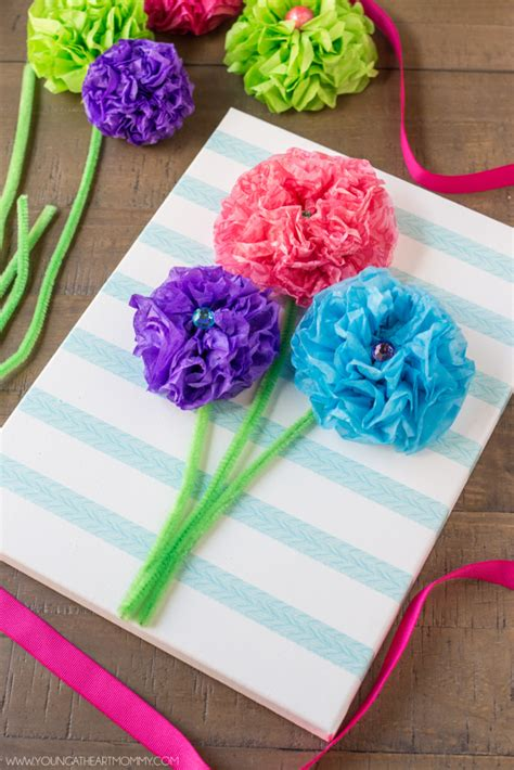 Easy Flower With Tissue Paper - tissue paper flower bouquet canvas at