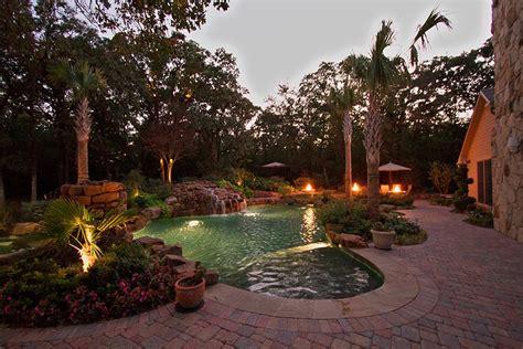 outdoor lighting on pool and landscape dallas landscape design abilene landscaping taylor