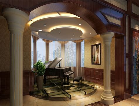 villa piano area design arch and curtain 3d house