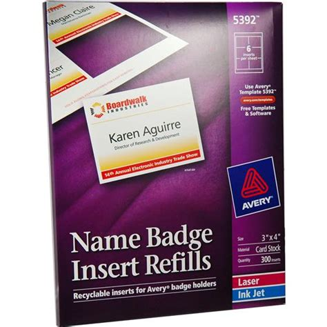 Avery 5392 Names Badge Insert Refills 3 X 4 Quot Nordisco Com 3x4 Name Badge Template