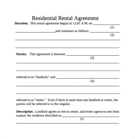 simple rental agreement template word simple rental agreement 9 free documents in