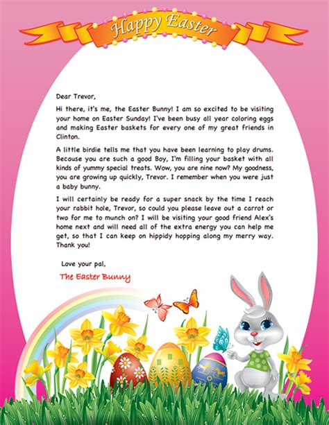 Easter Bunny Letter Example   Personalized Letters From