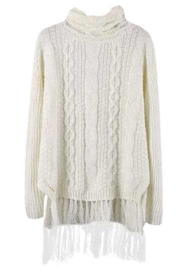 white cable knit sweater womens womens high neck fringe cable knit sweater white pink