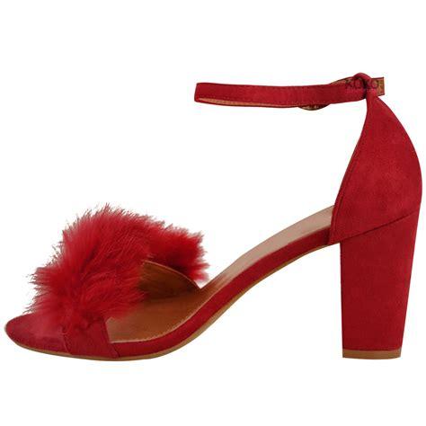 womens faux fur fluffy low wedge heel sandals