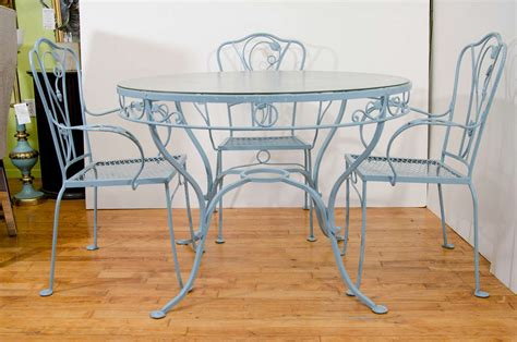 vintage wrought iron patio table and chairs vintage salterini wrought iron table and chairs in powder