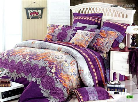 Egyptian Cotton Duvet Cover Queen Luxury Comforter Duvet Cover Orange Purple Red Yellow