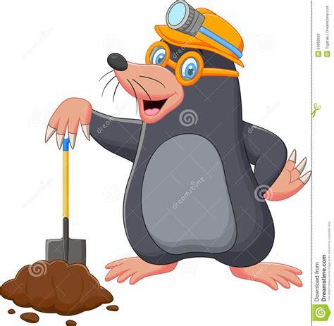 Is 2d Blind Cartoon Mole Holding Shovel Stock Vector Image 53892692