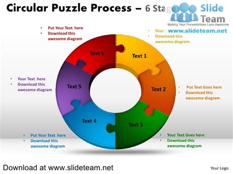 6 pieces pie chart circular puzzle with hole in center