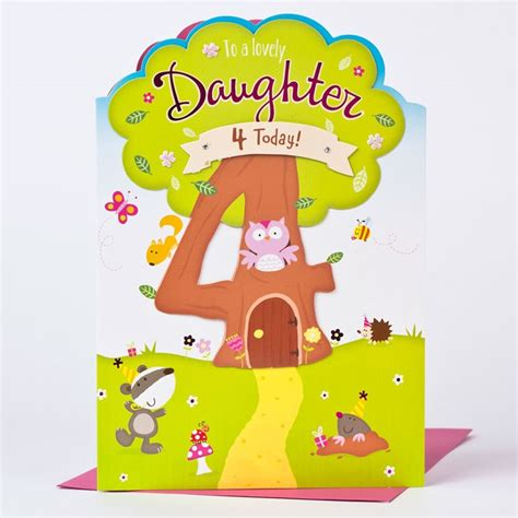 4th Birthday Card 4th Birthday Card Tree House Daughter Only 163 1 49