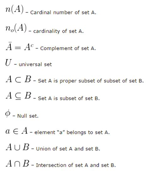 elementary set theory when is common formulas used in nda