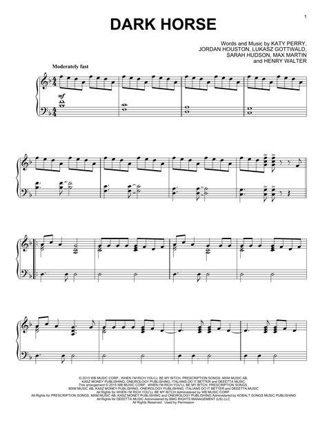 printable lyrics to dark horse dark horse sheet music direct