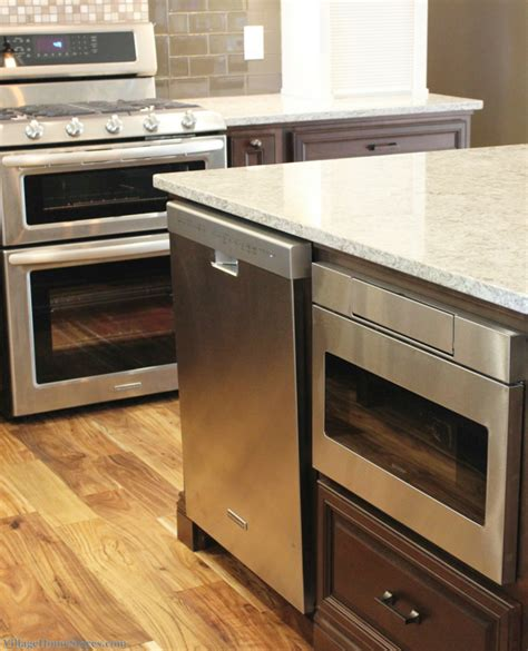 kitchen island with microwave drawer stainless steel gas range from kitchenaid and a