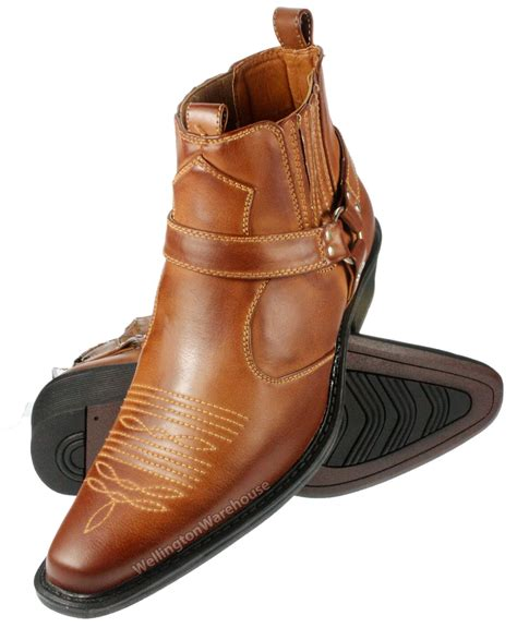 cuban heel mens boots us brass mens eastwood black brown cuban heel cowboy ankle