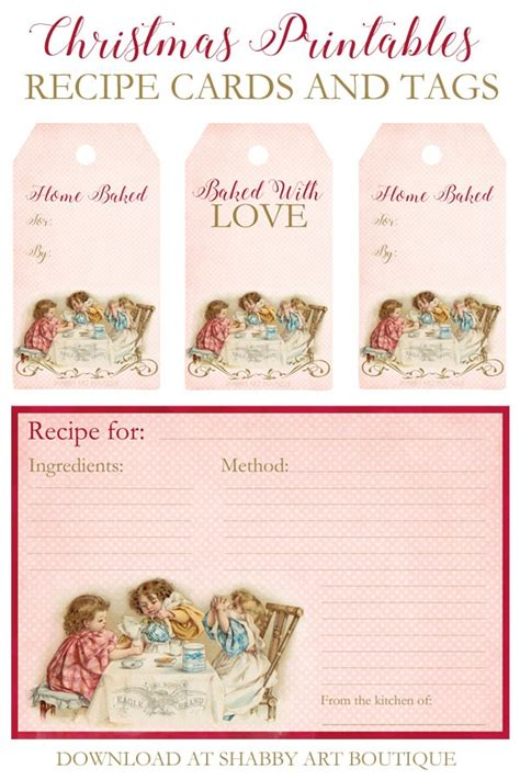 printable christmas recipe tags more vintage printables a giftbox and a winner shabby