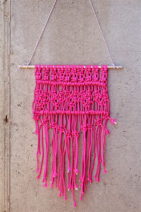 Wall Hanging Tutorial - diy macrame pink wall hanging tutorial