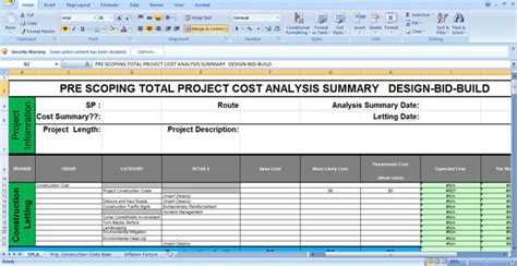 Total Cost Of Risk Worksheet by Pre Scoping Total Project Cost Analysis Summary Sheet