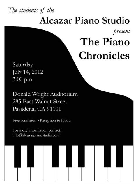 Piano Recital Invitation Stuff I Make Pinterest Piano Recital Poster Template