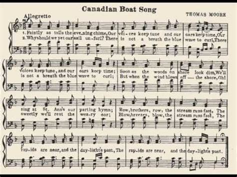 canadian boat song youtube canadian boat song by thomas moore youtube