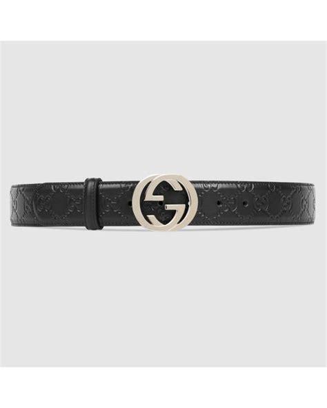 gucci signature leather belt in black lyst