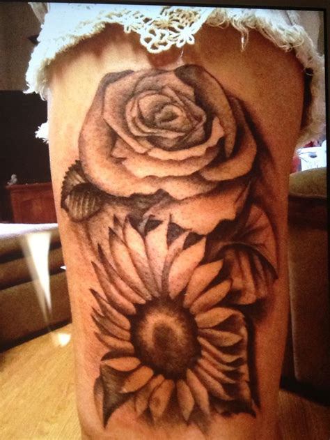 sunflower rose tattoo sunflower tattoos
