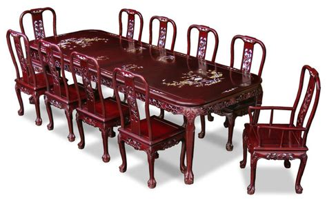 oriental dining room set 114in rosewood queen ann grape motif dining table with 10