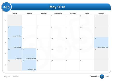 Calendar May 2013 May 2013 Calendar