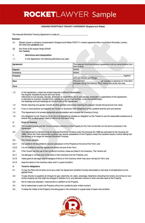 Letter Of Agreement Template Uk Sle Form Of Tenancy Agreement