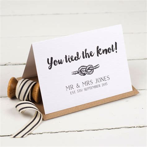 Wedding Wishes Knot by Personalised Tie The Knot Wedding Card By