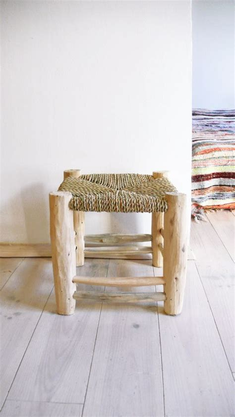 Handmade Wooden Stools - authentic wooden stool with seat of woven reeds handmade