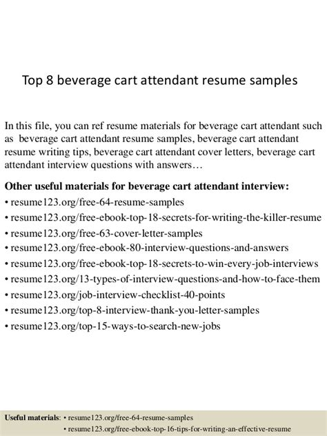 Food And Beverage Attendant Cover Letter by Cart Attendant Cover Letter Food And Sle Resume Golf Cart Attendant Sle Resume