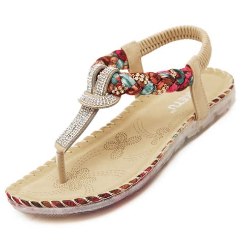 bohemian flats shoes 2016 plus size 35 41 summer sandals shoes with