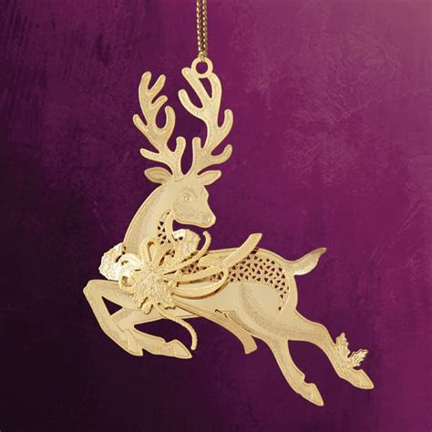 reindeer silver diamond christmas ornament chemart prancing reindeer brass ornament