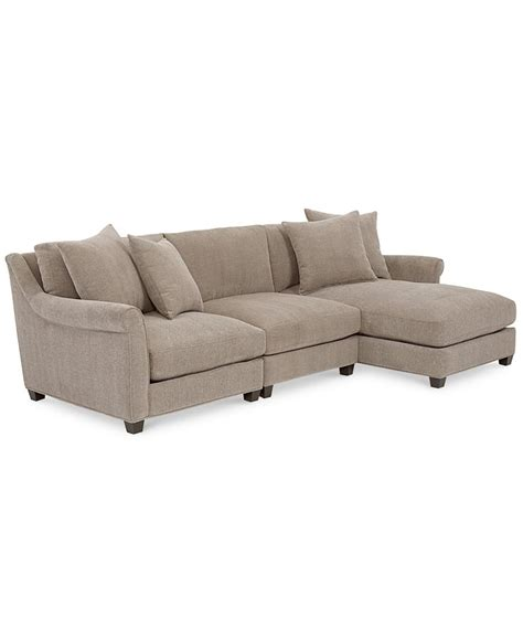 macys chaise family room westen fabric 3 piece chaise sectional