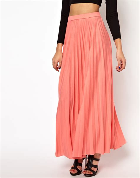 river island pleated maxi skirt in pink lyst
