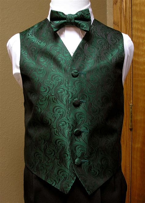 boys forest green vest and bow tie or neck tie from