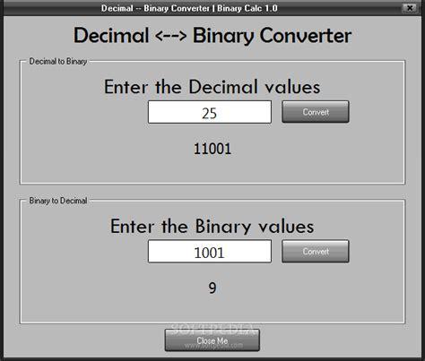 calculator binary to decimal download binary calc 1 0