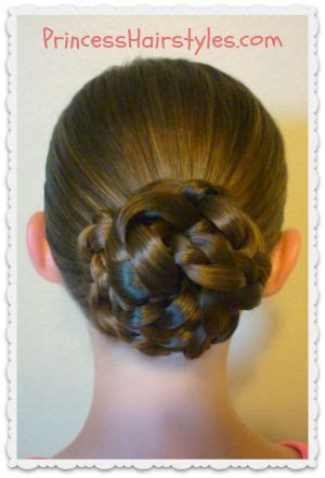 the triple braided bun with flower crown hairstyle design page 4 of triple braid bun video tutorial princess hairstyles