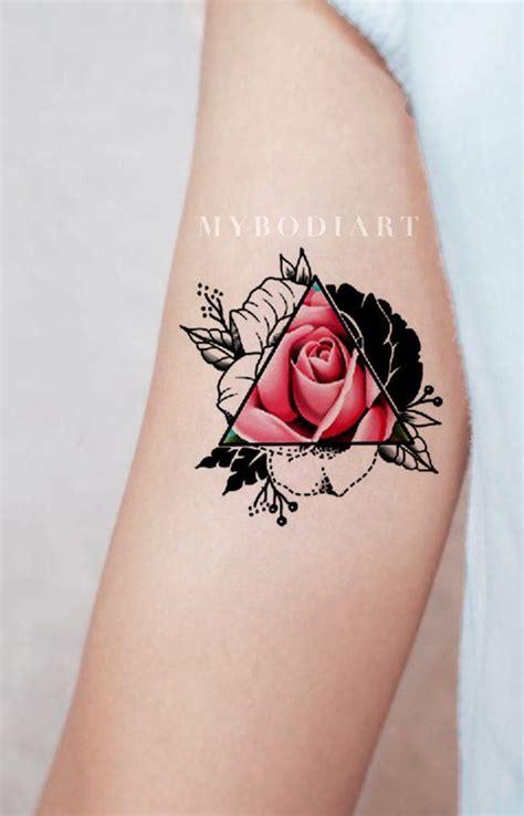 pink triangle tattoo brianne trending geometric triangle temporary