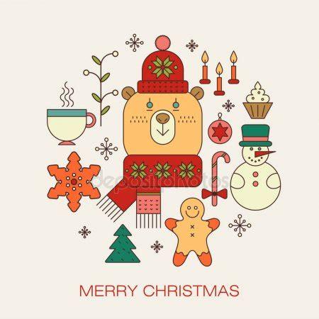 kerst layout word kerstmis huisstijl met kerst symbolen stockvector 7812098
