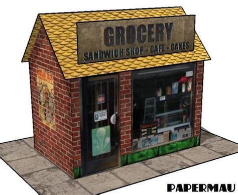 How To Make A Paper Shop - papermau easy to build grocery shop paper model by