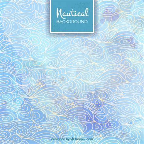 nautical background nautical background with boats and waves vector free