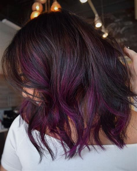purple shoo for purple highlights 4 most exciting shades of brown hair purple balayage