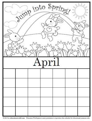 printable calendar education world coloring calendar april version 2 education world