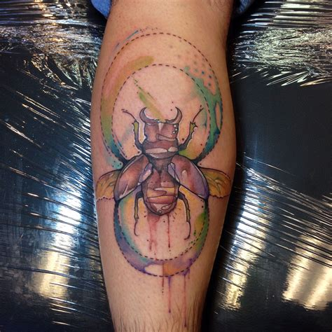 watercolor tattoos instagram justin nordine tattoos beetle